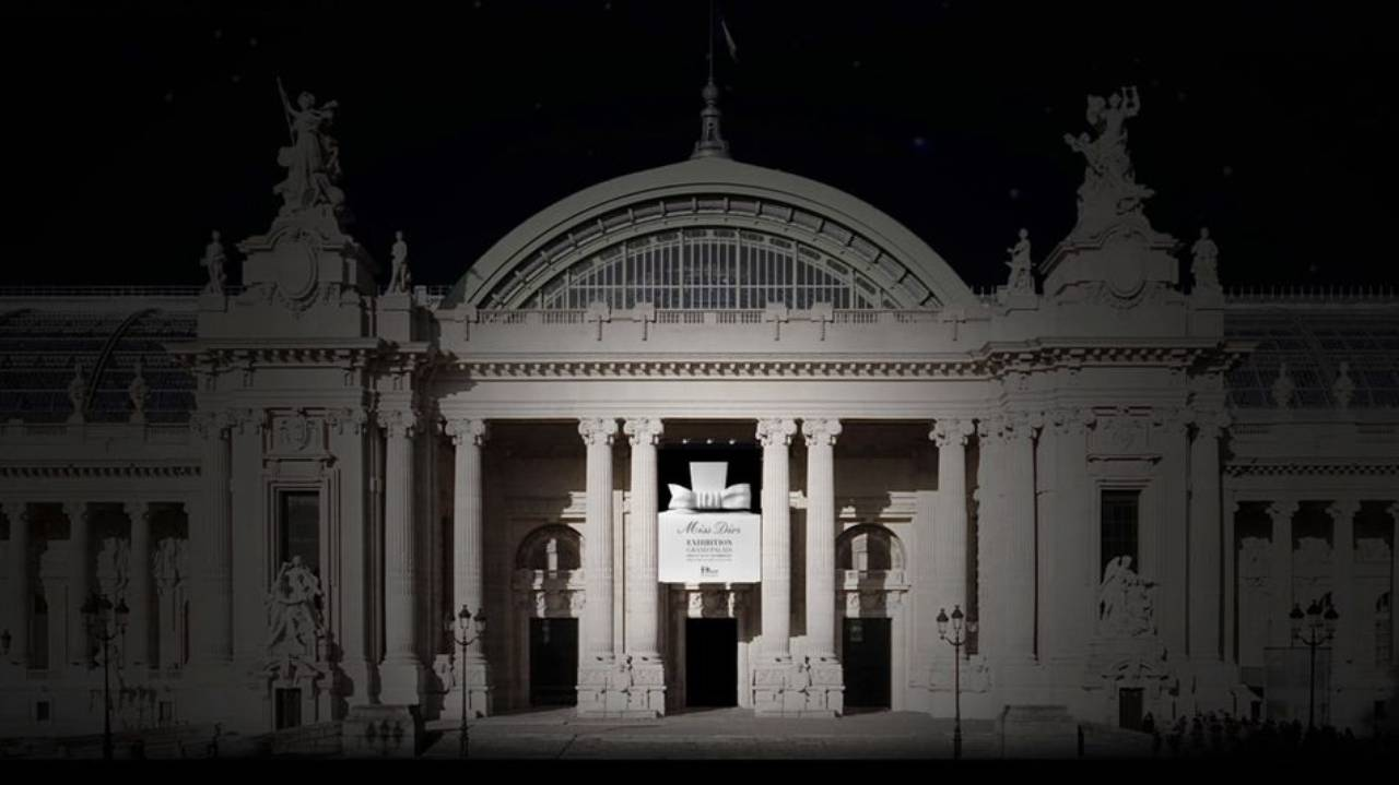 Maquette of entrance of Miss Dior exhibition at Grand Palais